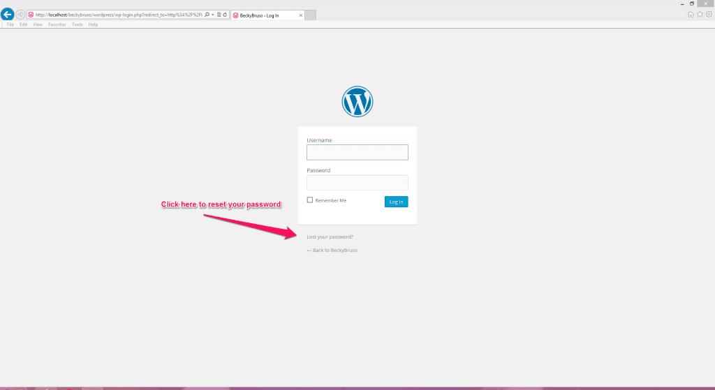 WordPress Reset Password link