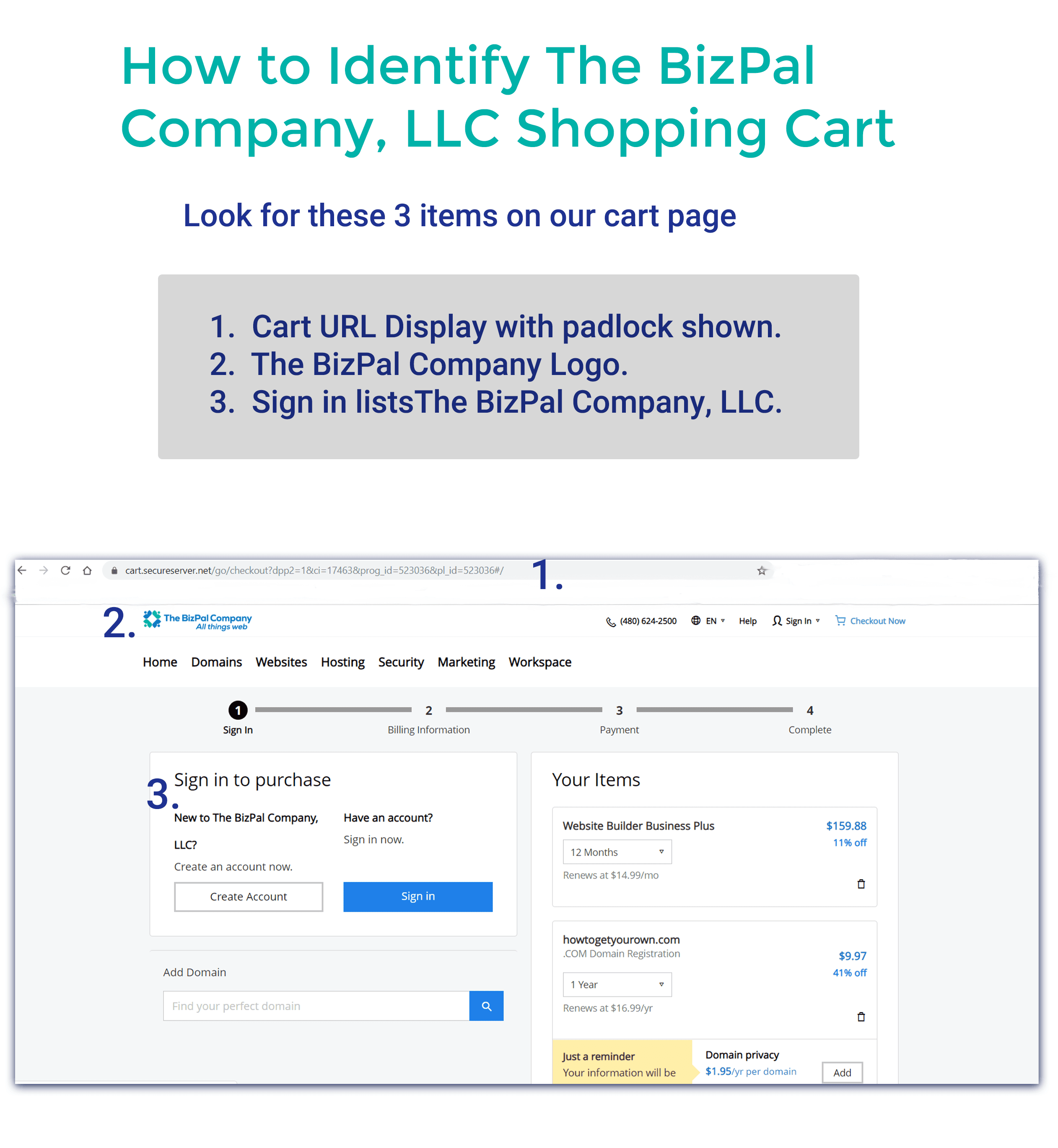 How to RecognizeThe Bizpal Company's Shopping Cart Page